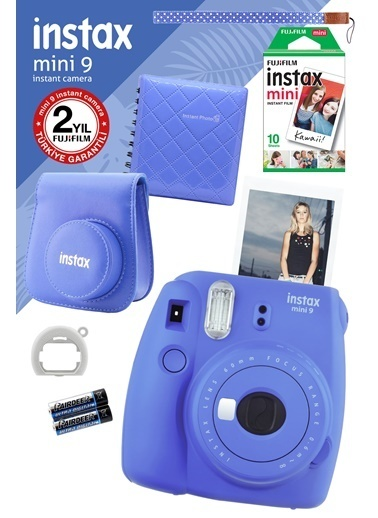 Fujifilm Instax Mini 9 Mavi Fotoğraf Makinesi ve Hediye Seti 2 Mavi